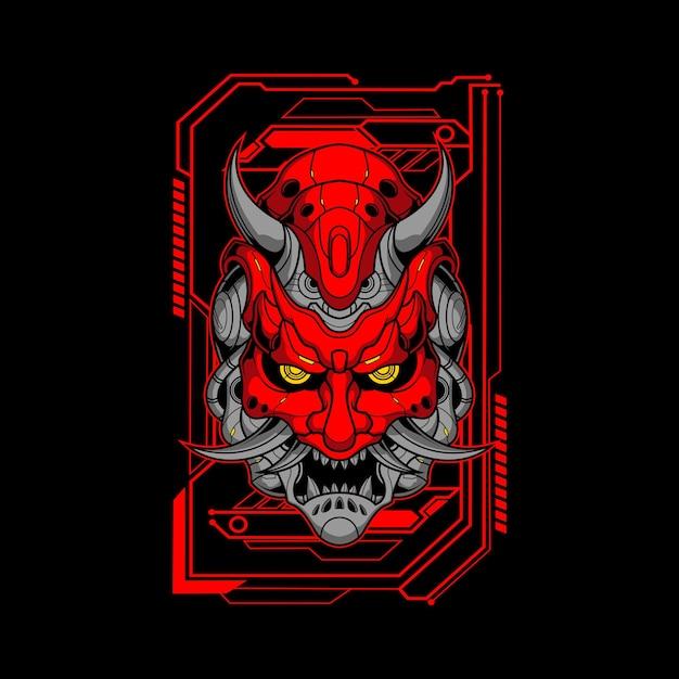 Rote mecha oni maske illustration Premium Vektoren