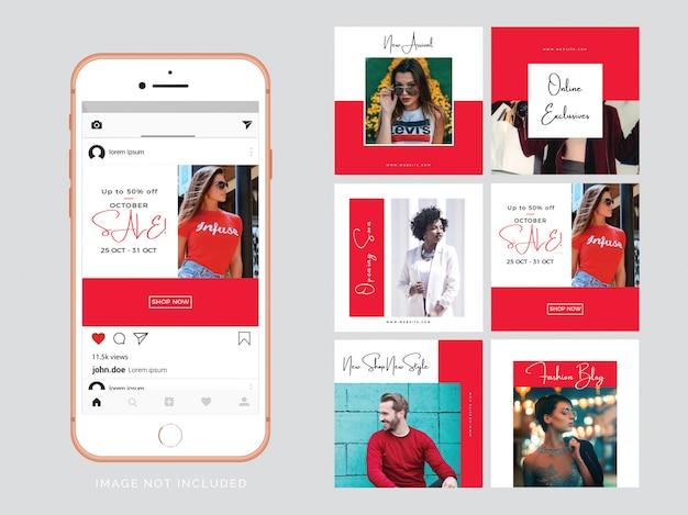 Rote mode social media beitragsvorlage Premium Vektoren