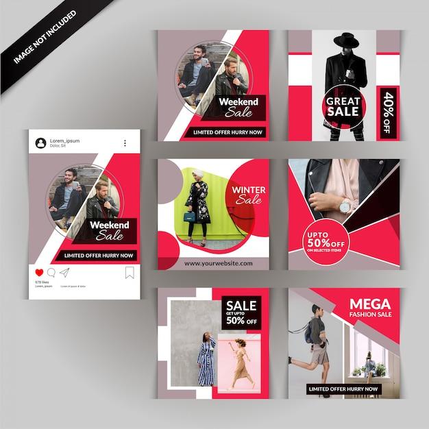 Rote mode-social media-post-vorlage Premium Vektoren