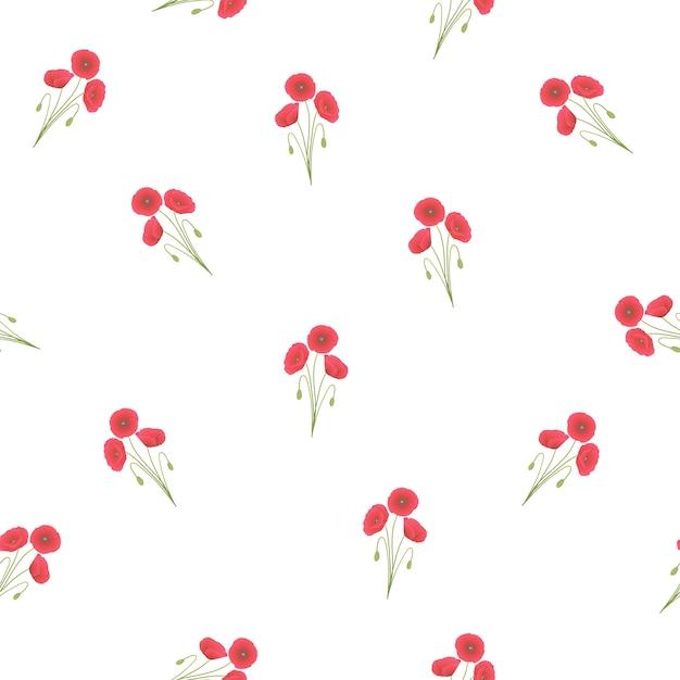 Rote mohnblume nahtlos auf weißem hintergrund Premium Vektoren