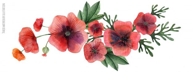 Rote mohnblumengala-vignette Premium Vektoren