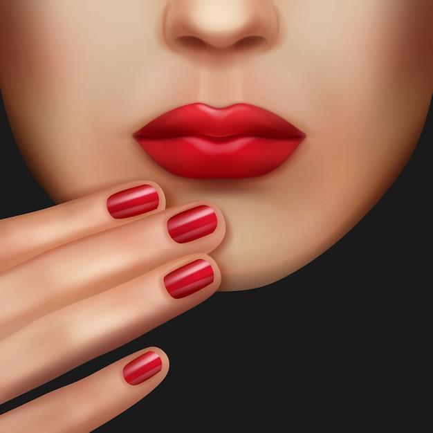 Rote nägel und lippenstift gleicher farbe Kostenlosen Vektoren