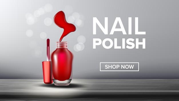 Rote nagellack produkt flasche landing page Premium Vektoren
