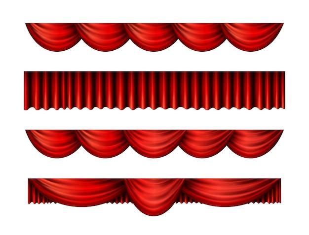 Rote pelmet-vorhänge für interieur-performance-event Kostenlosen Vektoren