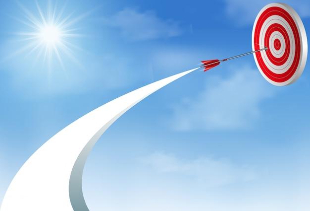Rote pfeilpfeile, die bis zum himmel fliegen, gehen, ziel zu zentrieren. geschäftserfolg ziel. kreative idee Premium Vektoren