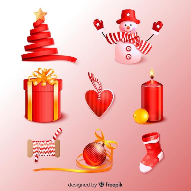 Rote realistische weihnachtselementsammlung Kostenlosen Vektoren