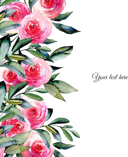 Rote rosen des aquarells und grüne blattkartenschablone Premium Vektoren