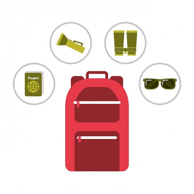 Rote rucksackferienausrüstungspass-sonnenbrille laterne Premium Vektoren