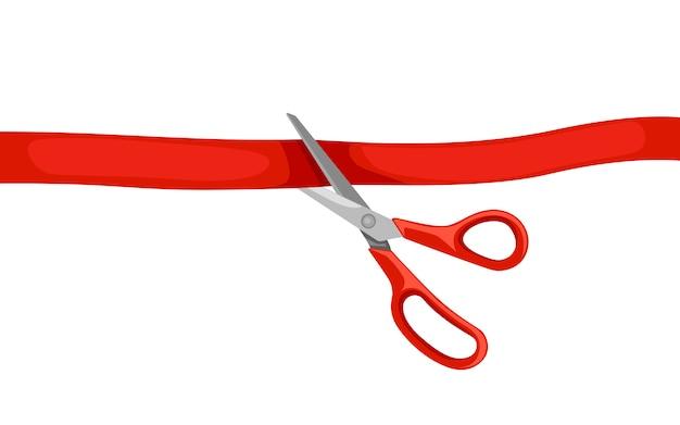 Rote schere schneidet bürokratie. eröffnungszeremonie. illustration auf weißem hintergrund Premium Vektoren