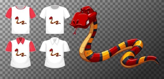 Rote schlange zeichentrickfigur mit vielen arten von hemden Kostenlosen Vektoren