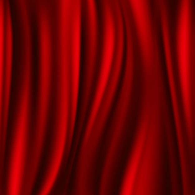 Rote seide, fließendes gewebe des satins, gewellter abstact hintergrund. satin glatte textur, illustration Premium Vektoren