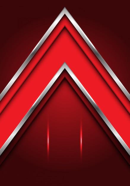 Rote silberne linie pfeilrichtung mit leerstellehintergrund. Premium Vektoren