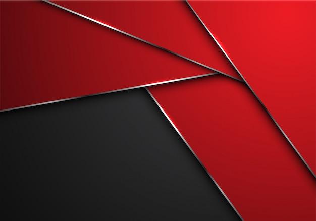 Rote silberne linie polygonüberlappung auf grauem leerstellehintergrund. Premium Vektoren