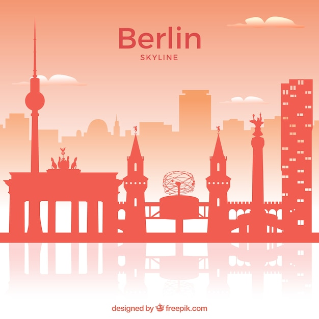 rote skyline von berlin download der kostenlosen vektor. Black Bedroom Furniture Sets. Home Design Ideas