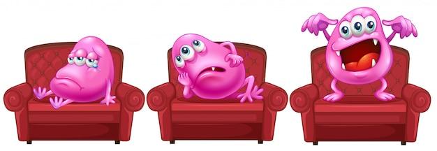 Rote stühle mit rosa monstern Kostenlosen Vektoren