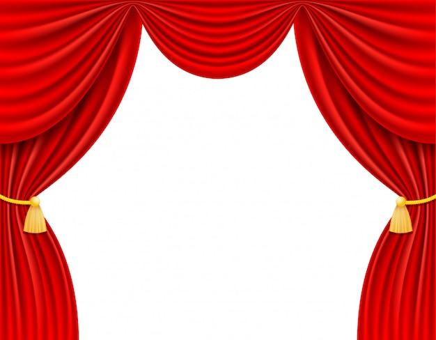 Rote theatervorhangvektorillustration Premium Vektoren