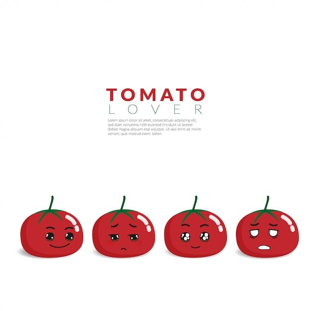 Rote tomate mit 4 verschiedenen netten gesichtsgefühlen Premium Vektoren