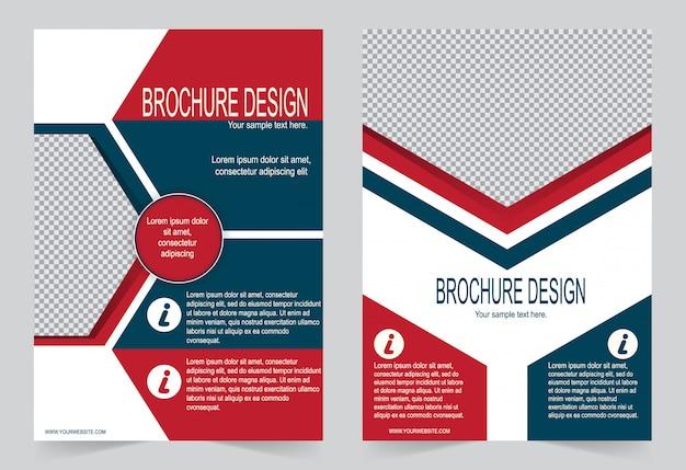 Rote und blaue broschürenvorlage flyer design, Premium Vektoren