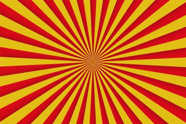 Rote und gelbe strahlen, retro- komisches plakat Premium Vektoren