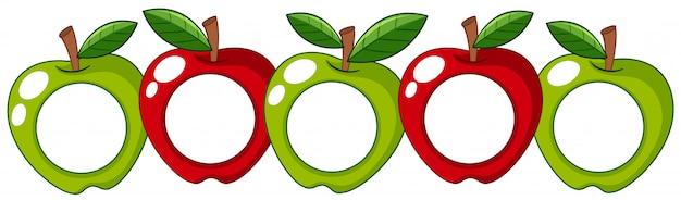 Rote und grüne äpfel mit weißem abzeichen an Kostenlosen Vektoren
