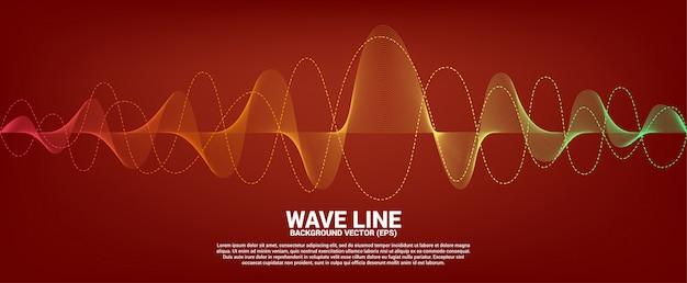 Rote und orange schallwellenlinie kurve auf rotem hintergrund. element für futuristischen vektor der thema technologie Premium Vektoren
