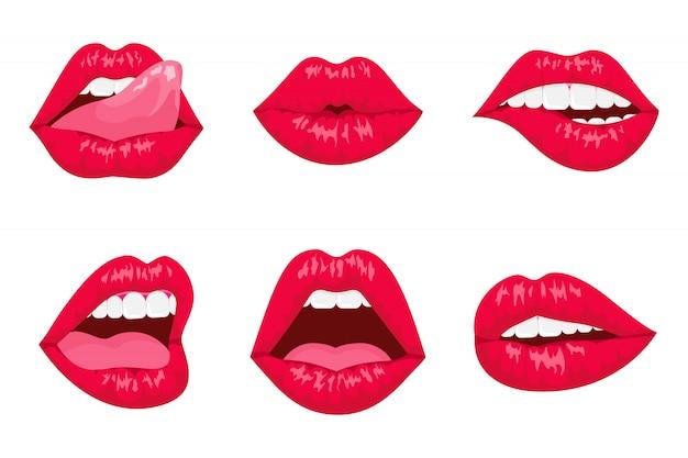 Rote und rosafarbene küssende und lächelnde karikaturlippen isoliert. Premium Vektoren