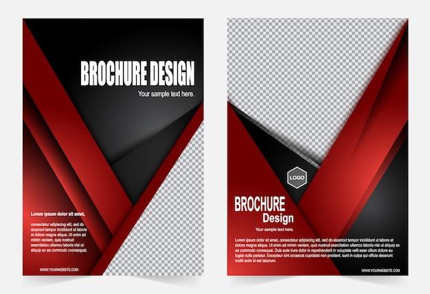 Rote und schwarze broschürenvorlage flyer design Premium Vektoren