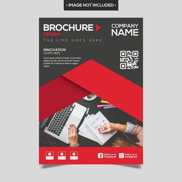 Rote und schwarze geschäftsbroschürenschablone Premium Vektoren