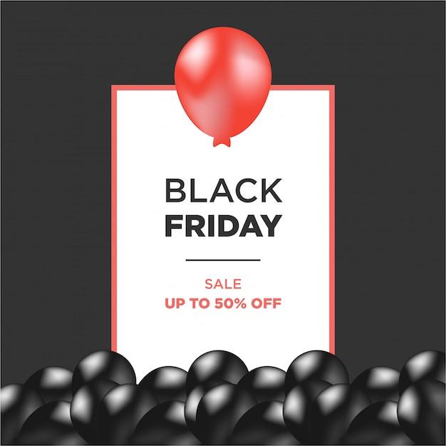 Rote und schwarze luftballons mit schwarzem freitag-rahmen Premium Vektoren