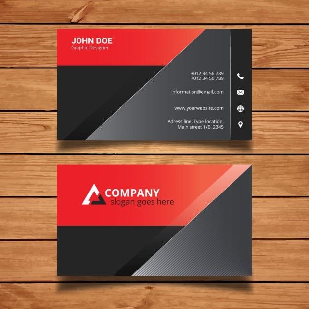 Rote Und Schwarze Moderne Visitenkarte Vorlage Kostenlose