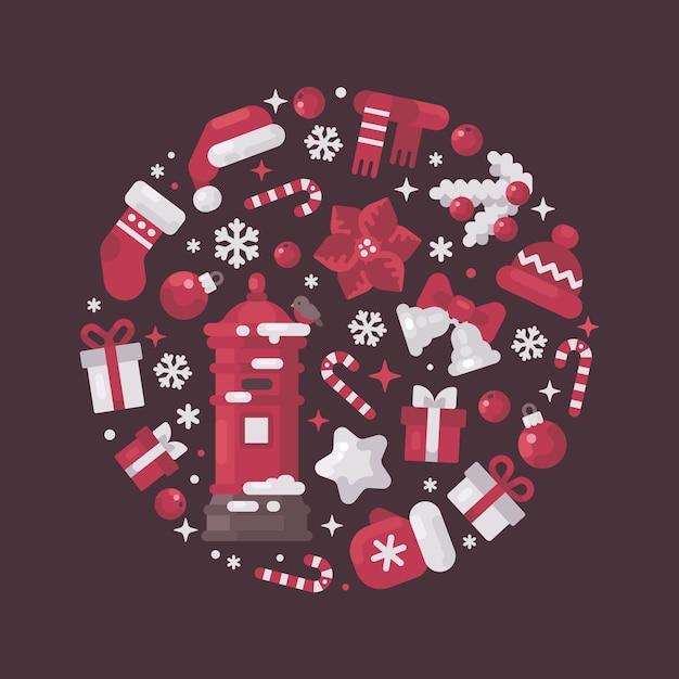 Rote und weiße kreiszusammensetzung gemacht von den weihnachts- und neujahrselementen Premium Vektoren