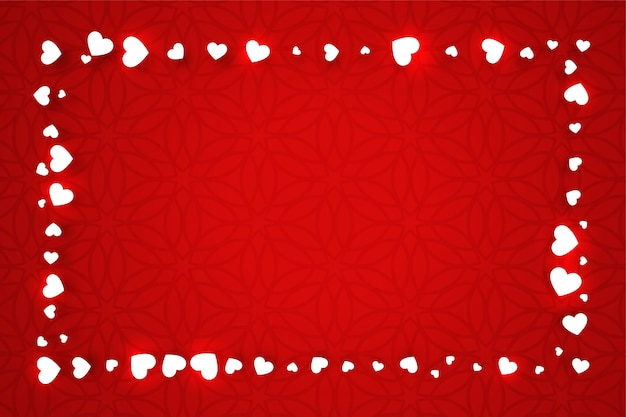 Rote valentinstagfahne mit herzrahmen Kostenlosen Vektoren