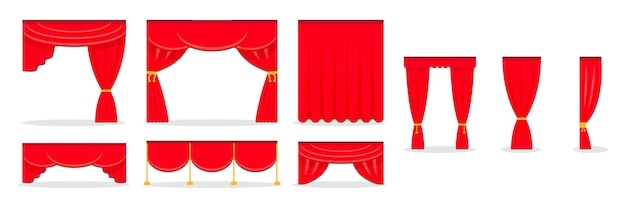 Rote vorhänge auf weiß isoliert Premium Vektoren