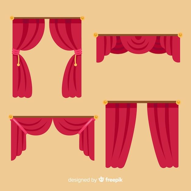 Rote vorhangsammlung des flachen designs Premium Vektoren