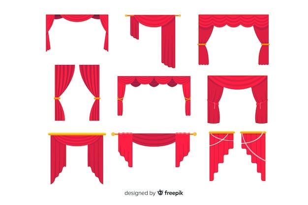 Rote vorhangsammlung des flachen designs Kostenlosen Vektoren
