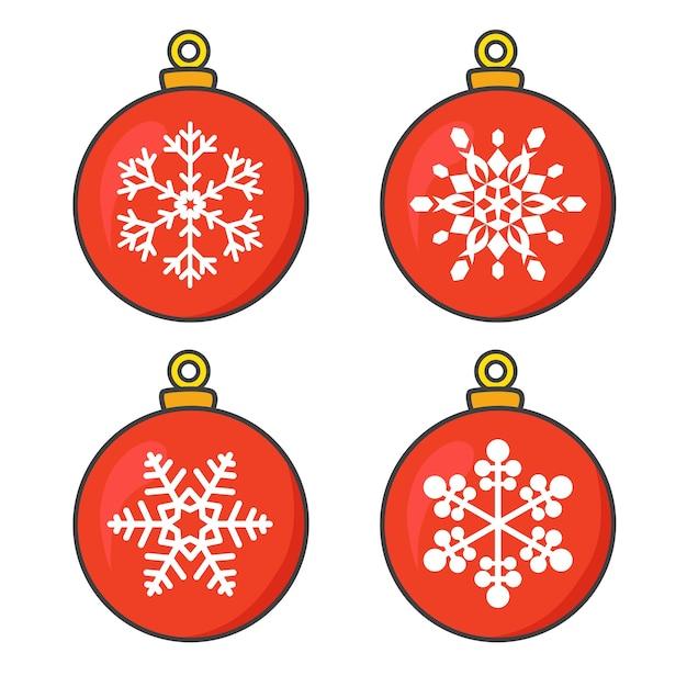 Rote weihnachtskugelsammlung mit schneeflocken Premium Vektoren