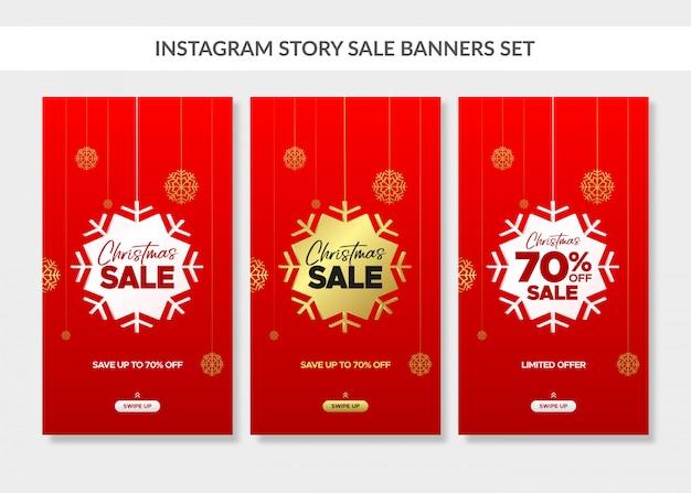Rote weihnachtsvertikale verkaufsfahnen stellten für instagram geschichte ein Premium Vektoren