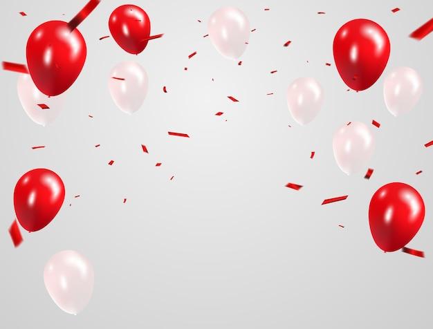 Rote weiße ballone, konfettikonzeptdesign Premium Vektoren