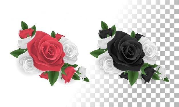 Rote, weiße und schwarze rosenblumendekoration Premium Vektoren