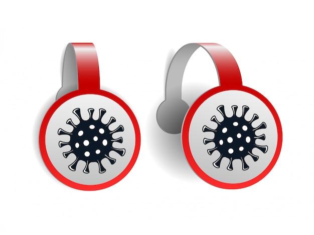 Rote wobbler mit coronavirus-symbol isoliert Premium Vektoren