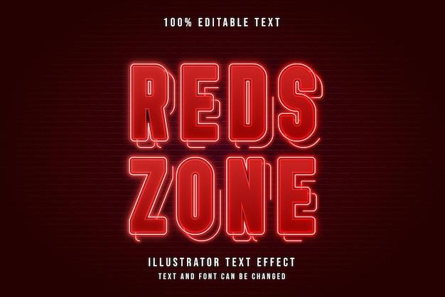 Rote zone, 3d bearbeitbarer texteffekt roter abstufungsneoneffekt Premium Vektoren