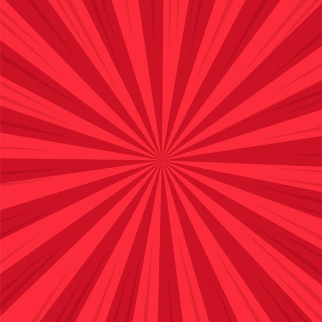 Roter abstrakter komischer karikatur-sonnenlicht-hintergrund. Premium Vektoren