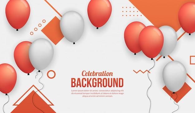 Roter ballonfeierhintergrund für birhtday party, staffelung, feierereignis und feiertag Premium Vektoren