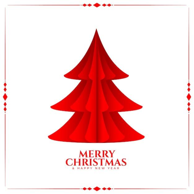 Roter baum der frohen weihnachten im papierorigami-stil Kostenlosen Vektoren