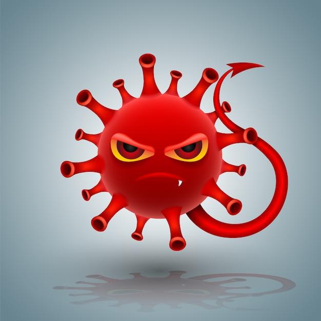 Roter coronavirus-charakter-teufelsstil Premium Vektoren