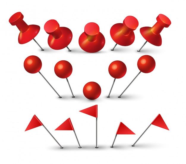 Roter druckstift. rote reißzwecke für pinnwand, die papiernotiz drückt. punktform und flaggenstiftsymbol isoliert. Premium Vektoren