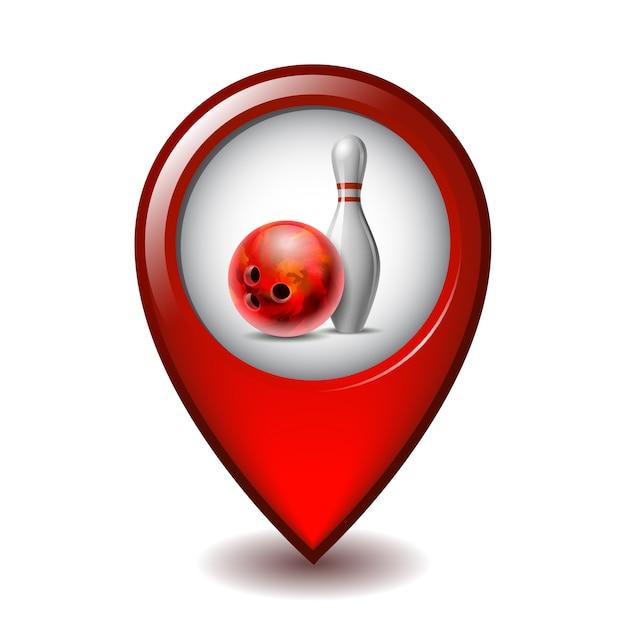 Roter glänzender bowlingball und weißer bowlingstift auf mapping marker symbol. ausrüstung für sportwettkämpfe oder aktivitäts- und spaßspiele auf map pointer. vektorillustration auf weißem hintergrund Premium Vektoren