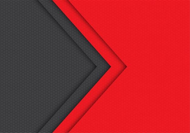 Roter grauer pfeilhexagonmaschenmuster-richtungshintergrund. Premium Vektoren