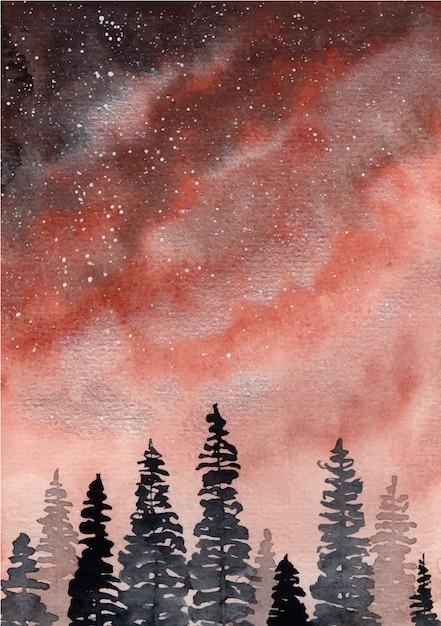 Roter himmel mit kieferaquarellhintergrund Premium Vektoren