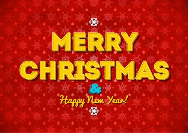Roter hintergrund der frohen weihnachten der weinlese mit beschriftung Premium Vektoren